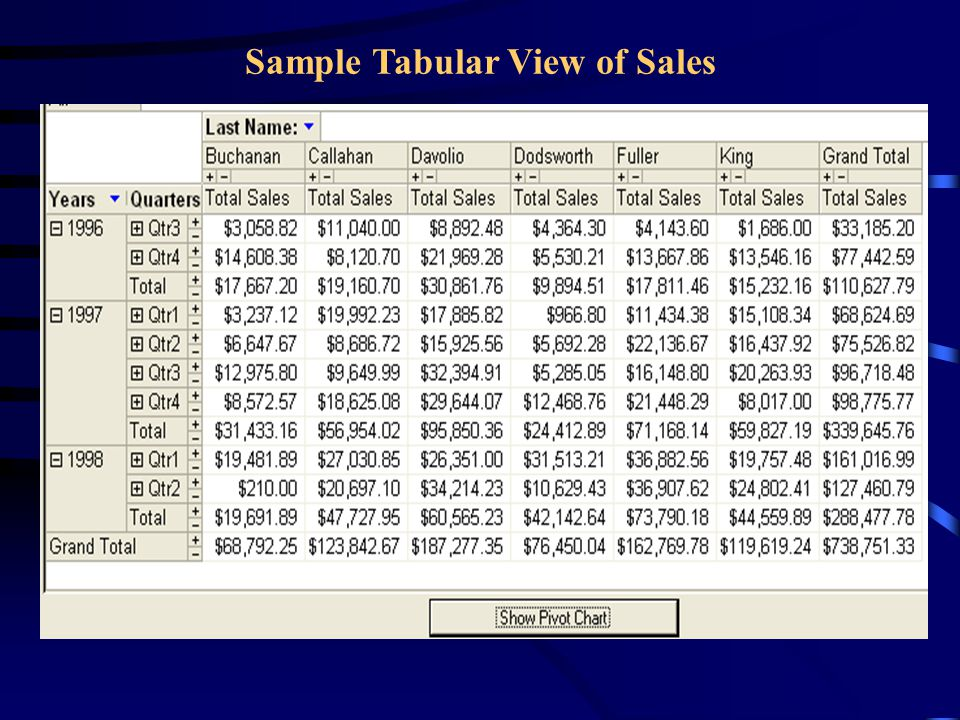 Sample Tabular View of Sales