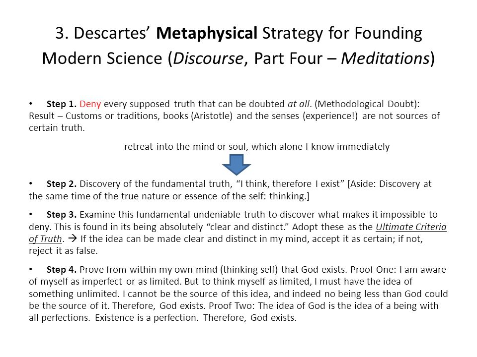 3. Descartes' Metaphysical Strategy for Founding Modern Science (Discourse, Part Four – Meditations) Step 1. Deny every supposed truth that can be dou