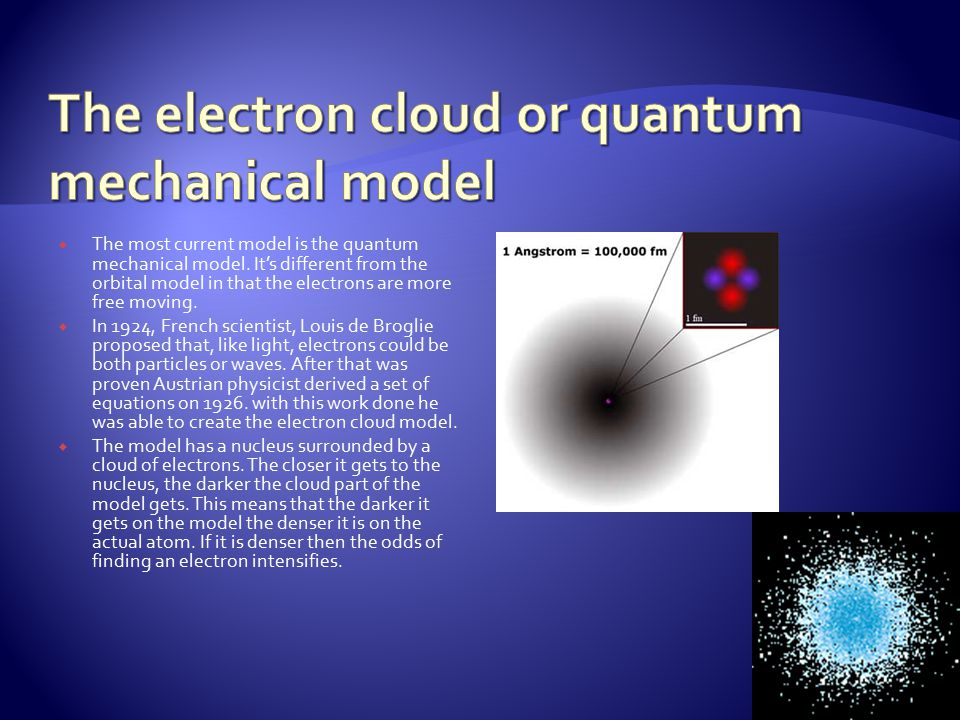 The most current model is the quantum mechanical model.