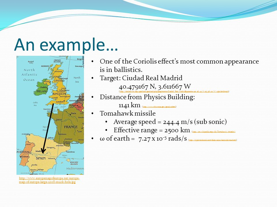 An example… http://www.europemapofeurope.net/europe- map-of-europe-large-2008-muck-hole.jpg One of the Coriolis effect's most common appearance is in ballistics.