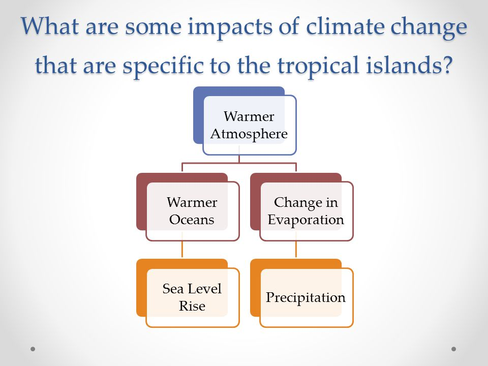 What are some impacts of climate change that are specific to the tropical islands.