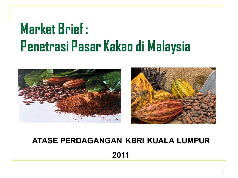 22 Guan Chong Cocoa Manufacturer Sdn Bhd Product: Cocoa Butter, Cocoa Cake dan Cocoa Powder Address: PLO 273, Jalan Timah Dua Pasir Gudang Industries Estate 81700 Pasir Gudang Phone: +60 7 2511588Fax: +60 7 2511711 Contact: Mr.