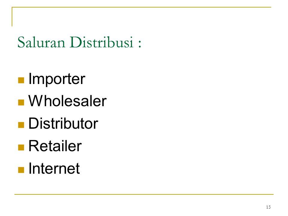 15 Saluran Distribusi : Importer Wholesaler Distributor Retailer Internet