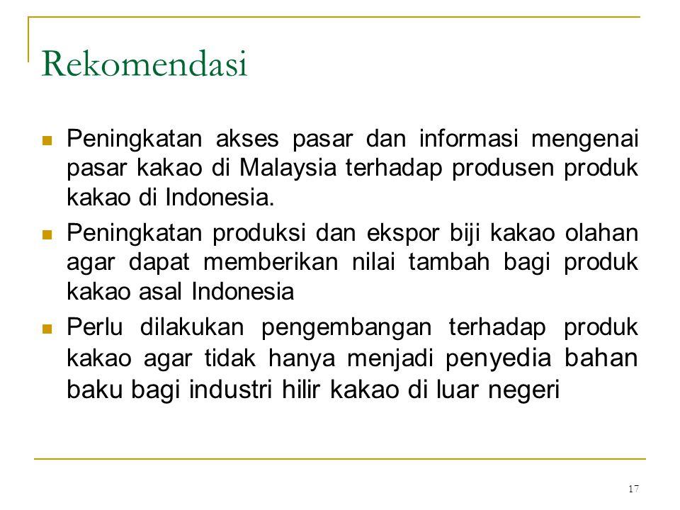 17 Rekomendasi Peningkatan akses pasar dan informasi mengenai pasar kakao di Malaysia terhadap produsen produk kakao di Indonesia. Peningkatan produks