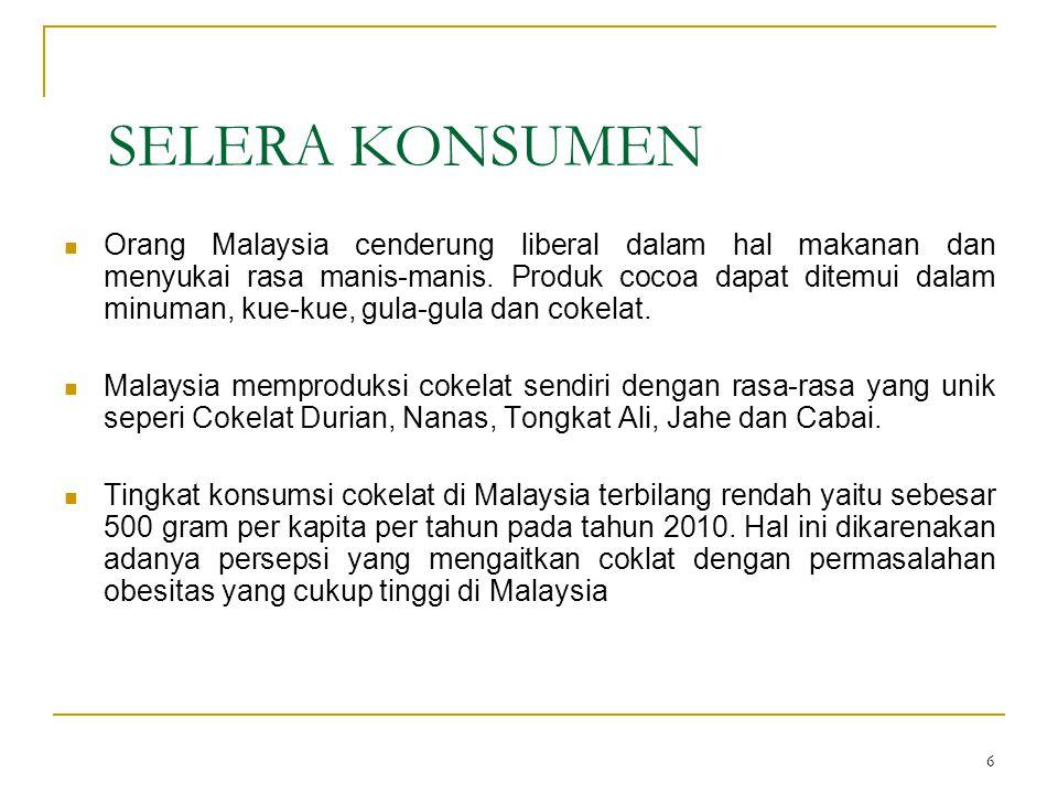 6 SELERA KONSUMEN Orang Malaysia cenderung liberal dalam hal makanan dan menyukai rasa manis-manis. Produk cocoa dapat ditemui dalam minuman, kue-kue,