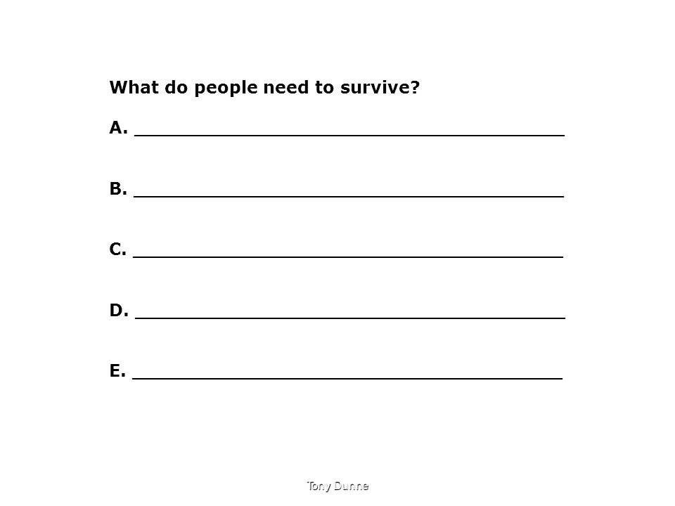 What do people need to survive? A.____________________________________ B. ____________________________________ C. ____________________________________