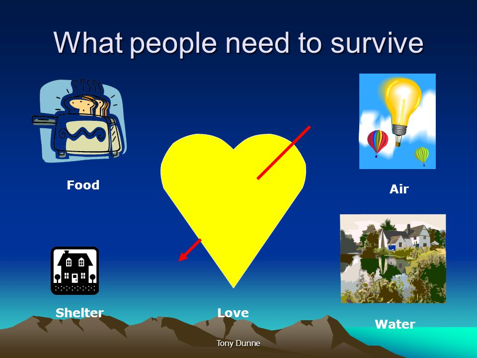 What people need to survive Food Air LoveShelter Water Tony Dunne
