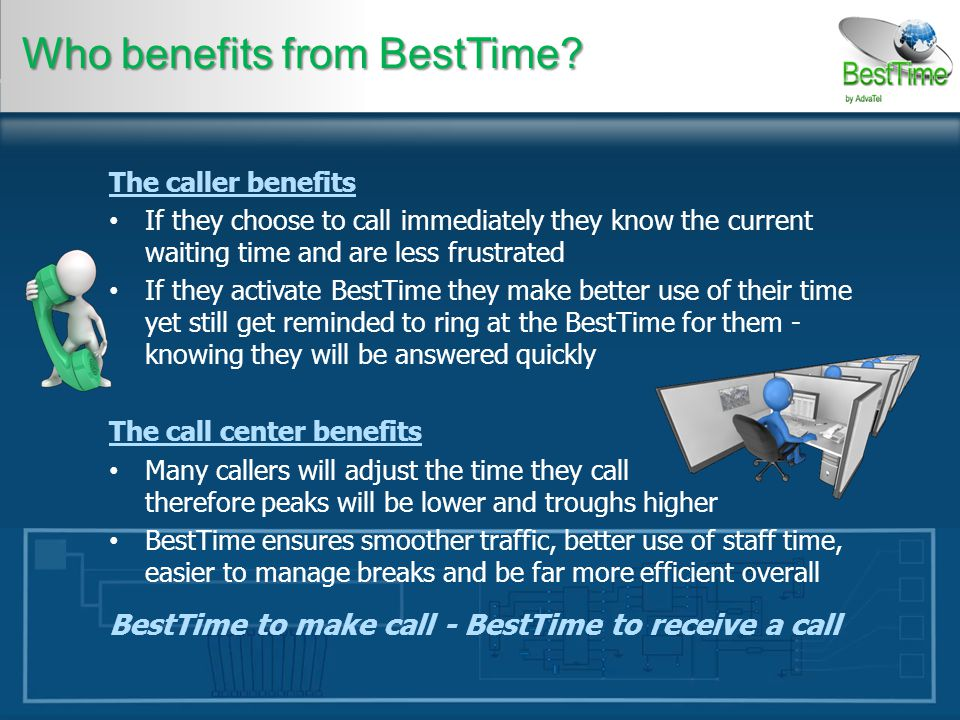 The caller benefits If they choose to call immediately they know the current waiting time and are less frustrated If they activate BestTime they make better use of their time yet still get reminded to ring at the BestTime for them - knowing they will be answered quickly The call center benefits Many callers will adjust the time they call therefore peaks will be lower and troughs higher BestTime ensures smoother traffic, better use of staff time, easier to manage breaks and be far more efficient overall BestTime to make call - BestTime to receive a call