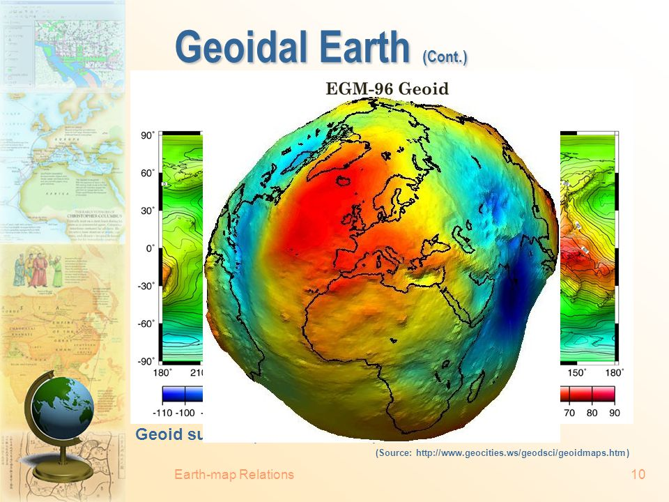 """Earth-map Relations9 Geoidal Earth  Geoid (""""earth like""""): an sea level equipotential surface.  Gravity is everywhere equal to its strength at mean s"""