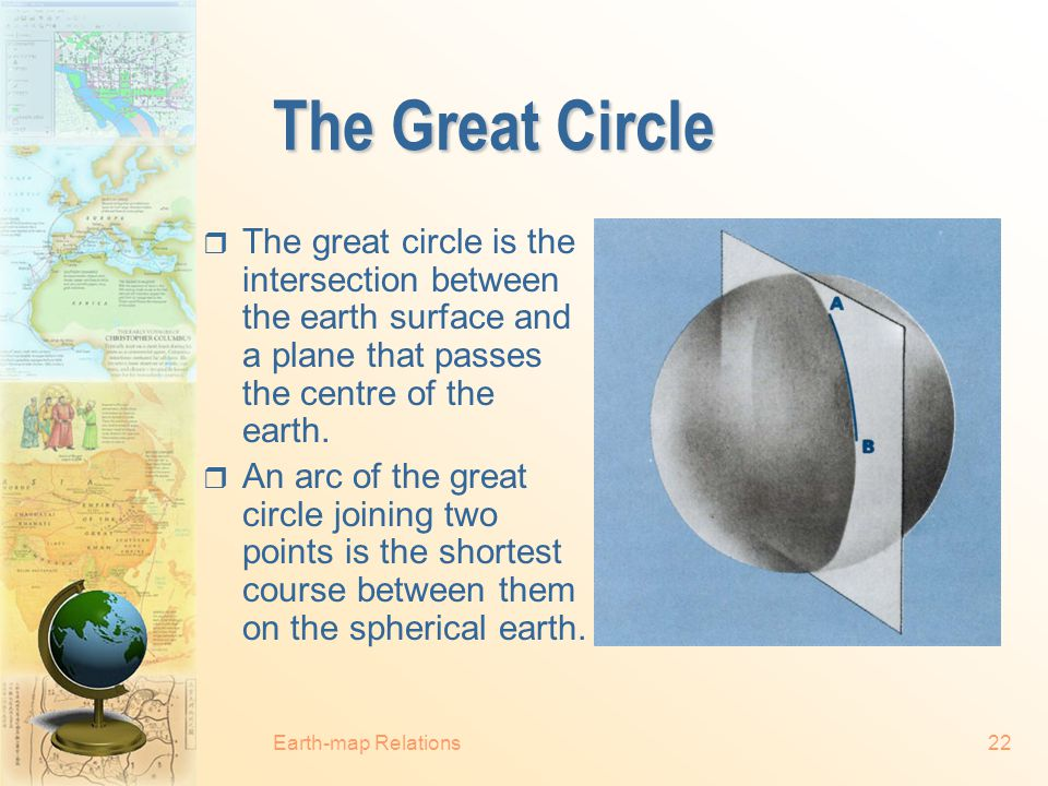 Earth-map Relations21 Distance  The equator is the only complete great circle in the graticule.  All meridians are one half a great circle in length
