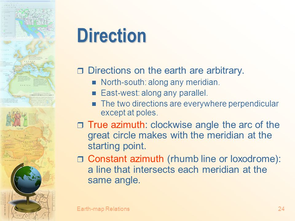 Earth-map Relations23 Great Circle Distance Calculation Great circle arc distance = D  R Where D = angle of the great circle arc (in radians) a and b