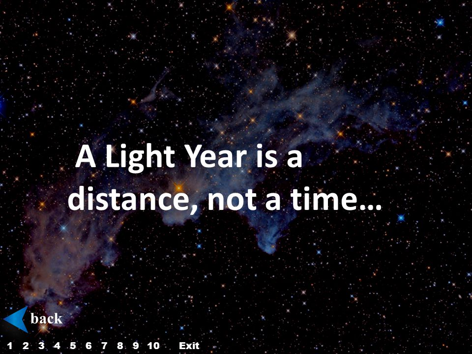 A Light Year is a distance, not a time… back 12345687910Exit