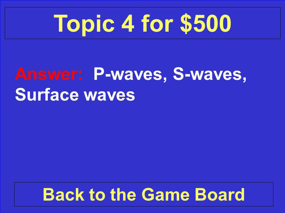 Question: Name the 3 types of seismic waves. Check Your Answer Topic 4 for $500