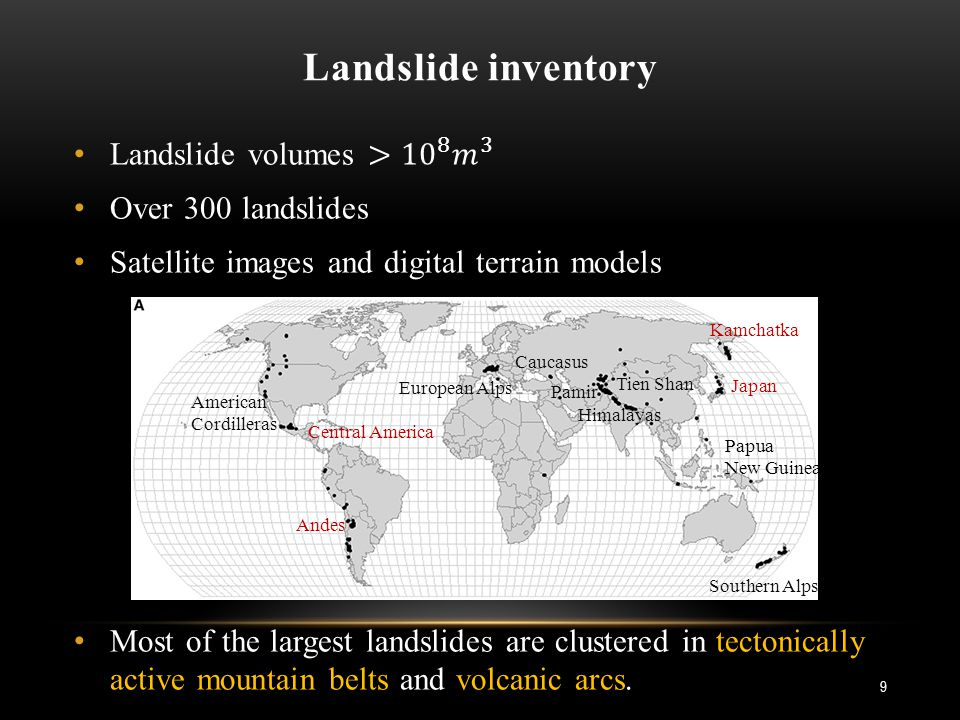 Landslide inventory European Alps Caucasus American Cordilleras Himalayas Pamir Tien Shan Papua New Guinea Southern Alps Kamchatka Japan Central America Andes 9
