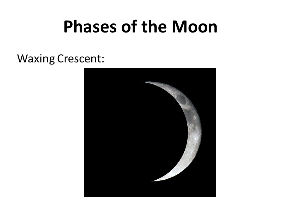 Phases of the Moon Waxing Crescent: