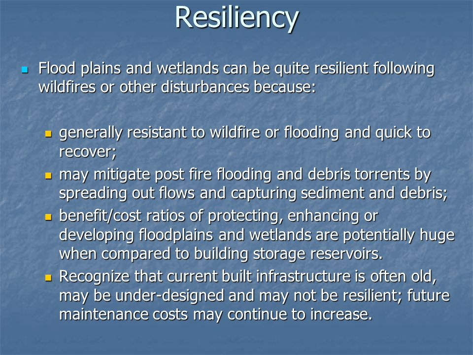Resiliency Flood plains and wetlands can be quite resilient following wildfires or other disturbances because: Flood plains and wetlands can be quite resilient following wildfires or other disturbances because: generally resistant to wildfire or flooding and quick to recover; generally resistant to wildfire or flooding and quick to recover; may mitigate post fire flooding and debris torrents by spreading out flows and capturing sediment and debris; may mitigate post fire flooding and debris torrents by spreading out flows and capturing sediment and debris; benefit/cost ratios of protecting, enhancing or developing floodplains and wetlands are potentially huge when compared to building storage reservoirs.
