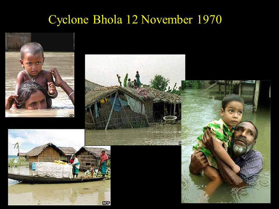 Cyclone Sidre 15 Nov 2007 Peak wind 260 km/hr Damage $1.7 b (2009 value) >3,447 died TDTD TSTS 12345 Hurricane scale