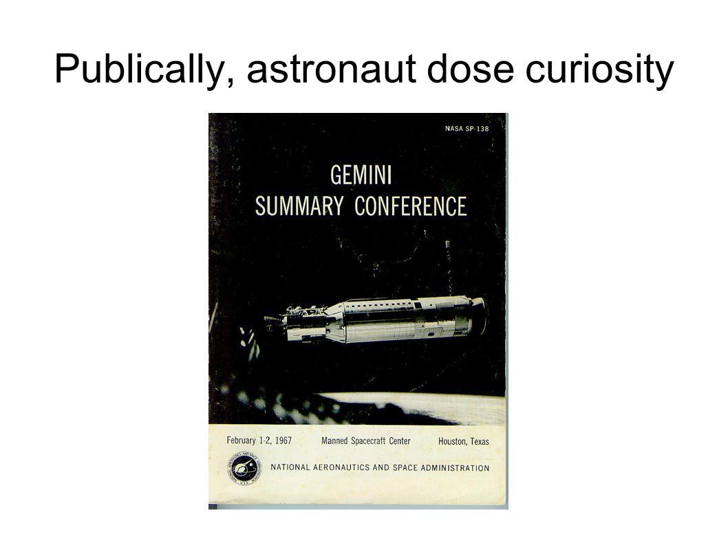 Publically, astronaut dose curiosity
