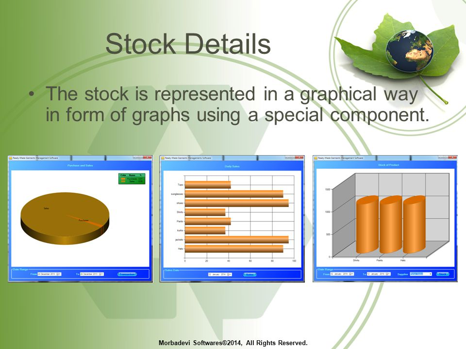 Stock Details The stock is represented in a graphical way in form of graphs using a special component.