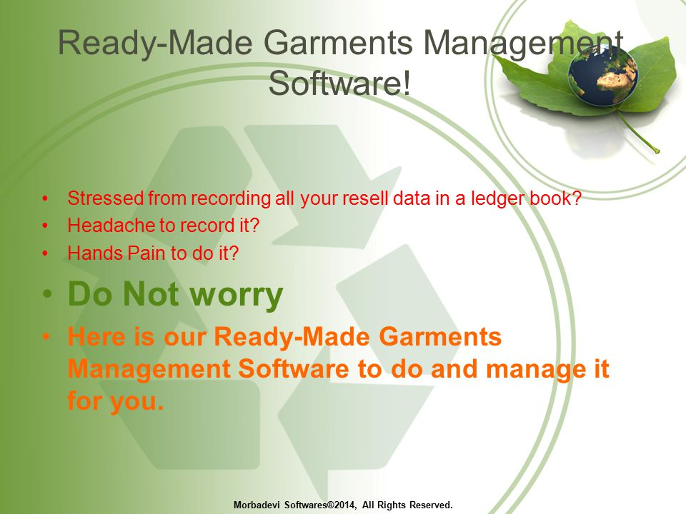 Ready-Made Garments Management Software.