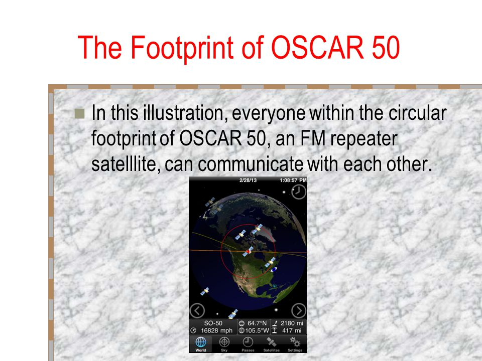 The Footprint of OSCAR 50 In this illustration, everyone within the circular footprint of OSCAR 50, an FM repeater satelllite, can communicate with each other.