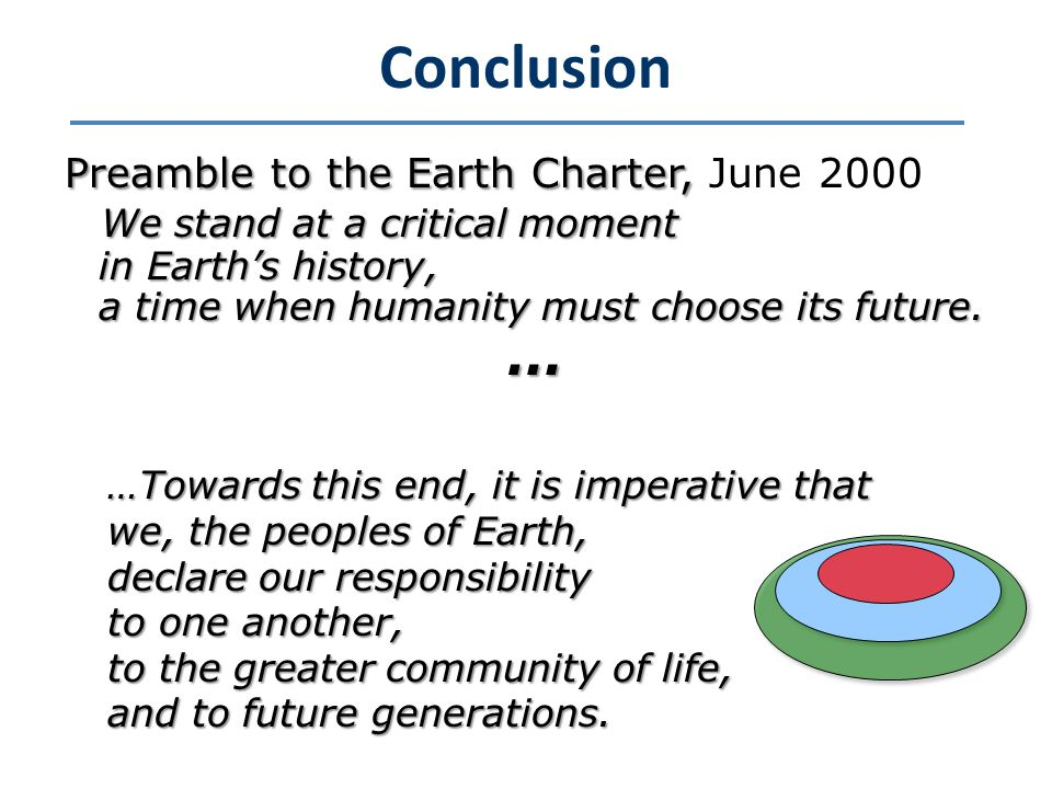 Conclusion Preamble to the Earth Charter, Preamble to the Earth Charter, June 2000 We stand at a critical moment in Earth's history, in Earth's history, a time when humanity must choose its future.