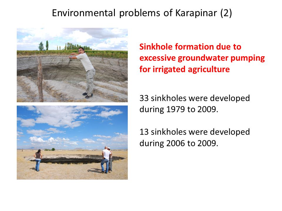 Environmental problems of Karapinar (2) Sinkhole formation due to excessive groundwater pumping for irrigated agriculture 33 sinkholes were developed during 1979 to 2009.