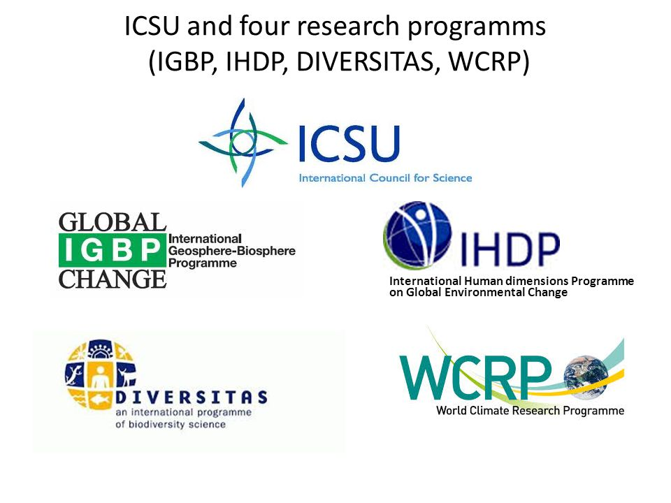 ICSU and four research programms (IGBP, IHDP, DIVERSITAS, WCRP) International Human dimensions Programme on Global Environmental Change