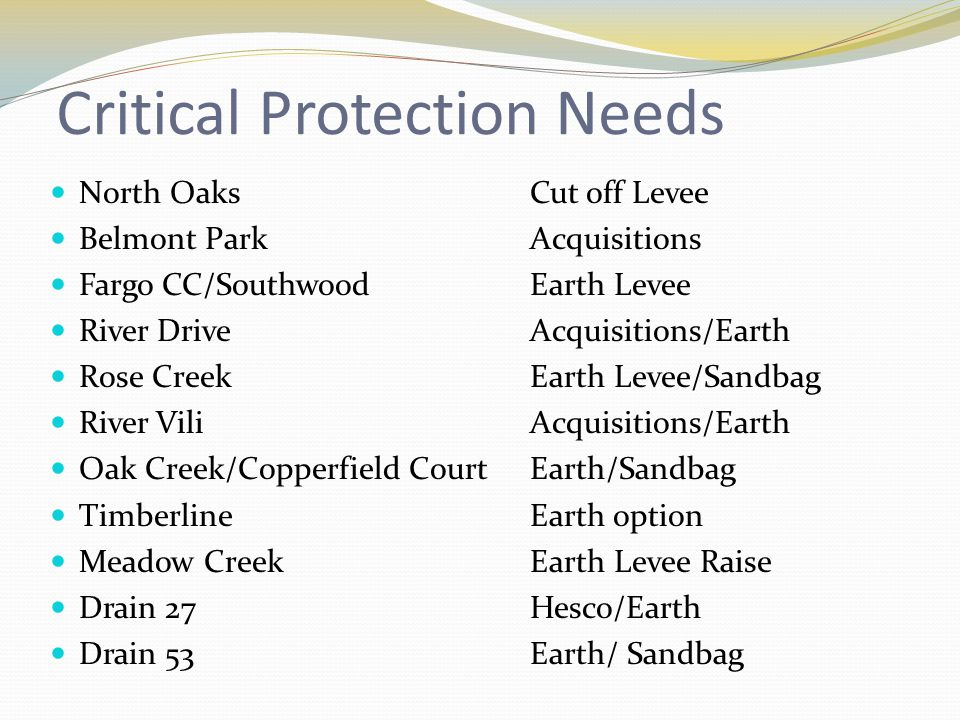 Critical Protection Needs North OaksCut off Levee Belmont ParkAcquisitions Fargo CC/SouthwoodEarth Levee River DriveAcquisitions/Earth Rose CreekEarth