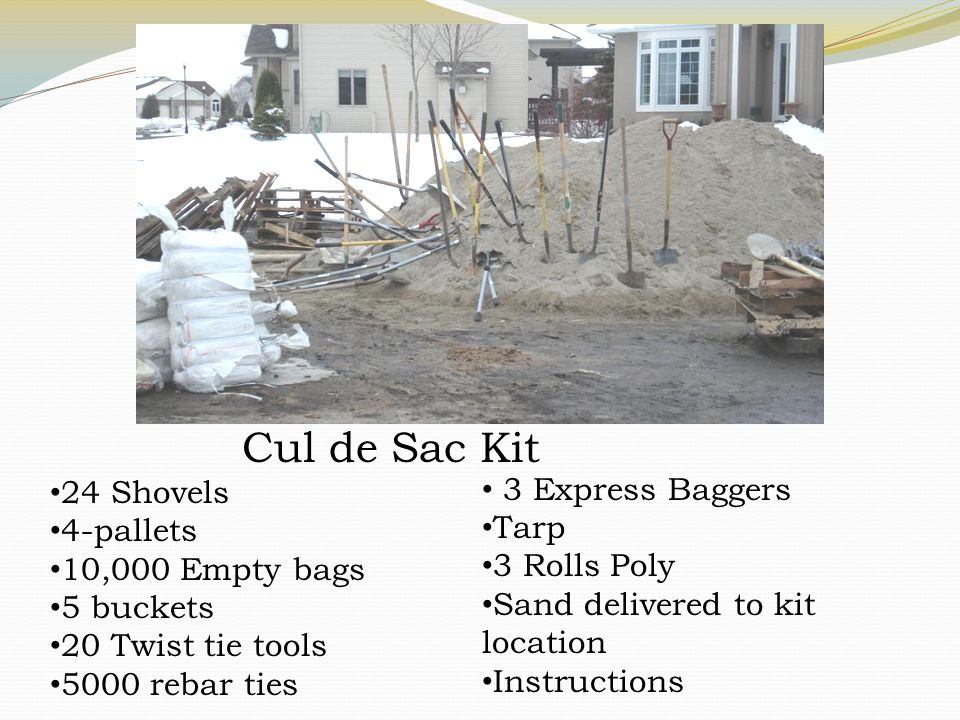 Cul de Sac Kit 24 Shovels 4-pallets 10,000 Empty bags 5 buckets 20 Twist tie tools 5000 rebar ties 3 Express Baggers Tarp 3 Rolls Poly Sand delivered to kit location Instructions
