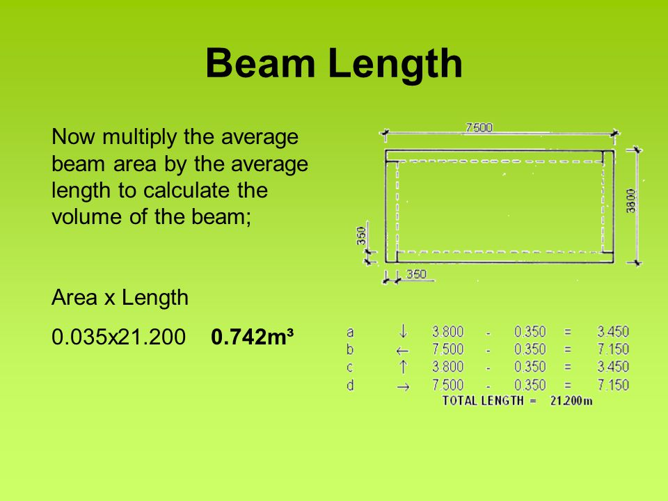 Beam Length Now multiply the average beam area by the average length to calculate the volume of the beam; Area x Length 0.035x21.200 0.742m³