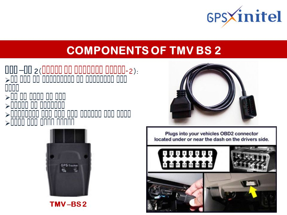 COMPONENTS OF TMV BS 2 TMV – BS 2( trace my vehicle basic -2):  It can be connected to existing OBD port  It is easy to fix  Built in battery  Suitable for any car having OBD port  Plug and play model.
