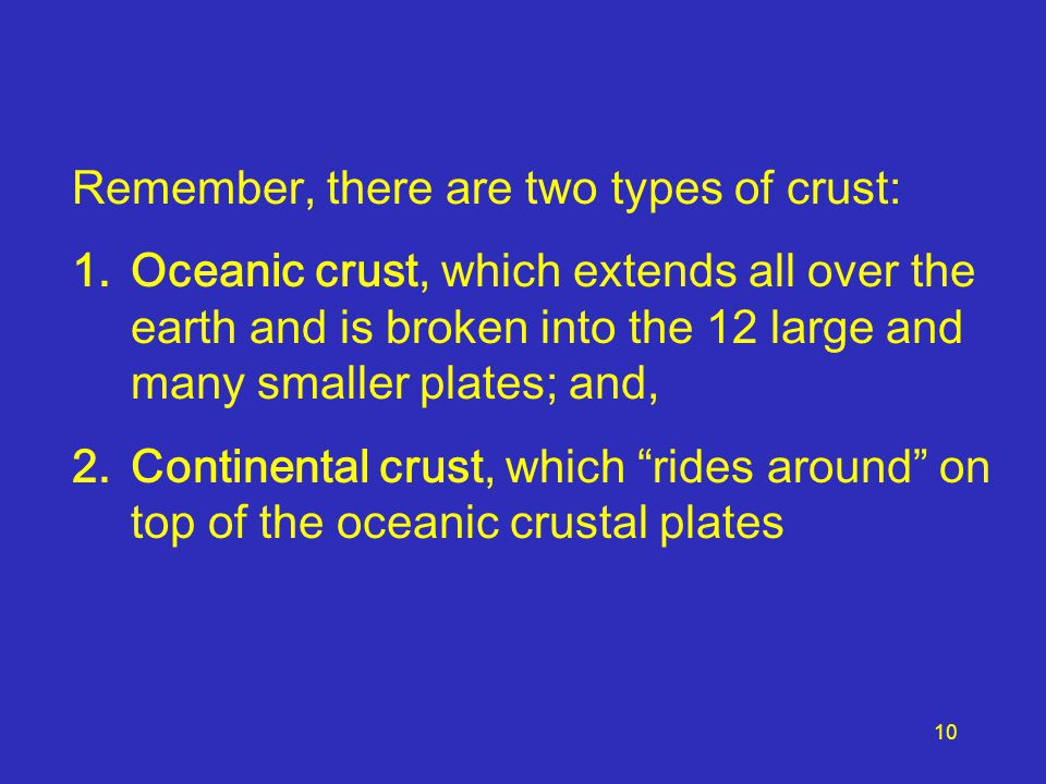 Remember, there are two types of crust: 1.Oceanic crust, which extends all over the earth and is broken into the 12 large and many smaller plates; and