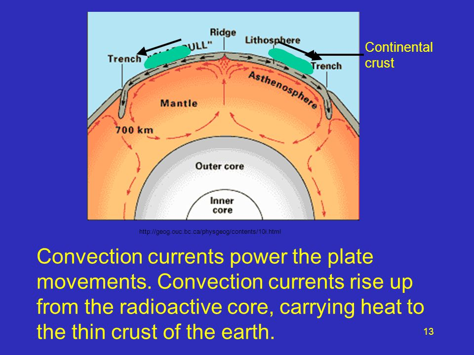 Convection currents power the plate movements. Convection currents rise up from the radioactive core, carrying heat to the thin crust of the earth. ht