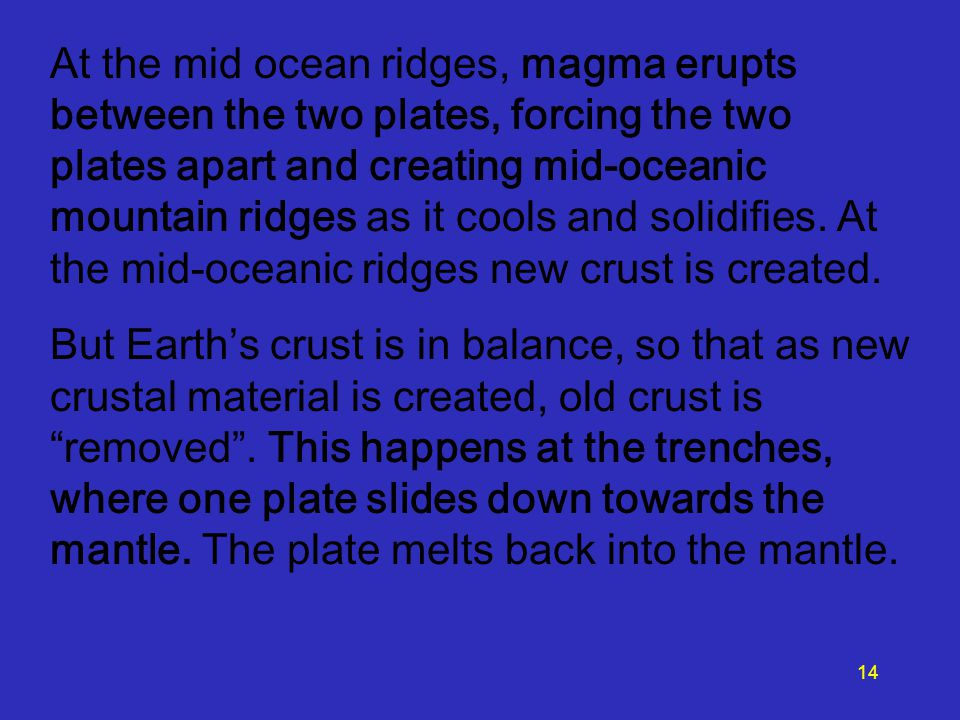 At the mid ocean ridges, magma erupts between the two plates, forcing the two plates apart and creating mid-oceanic mountain ridges as it cools and solidifies.