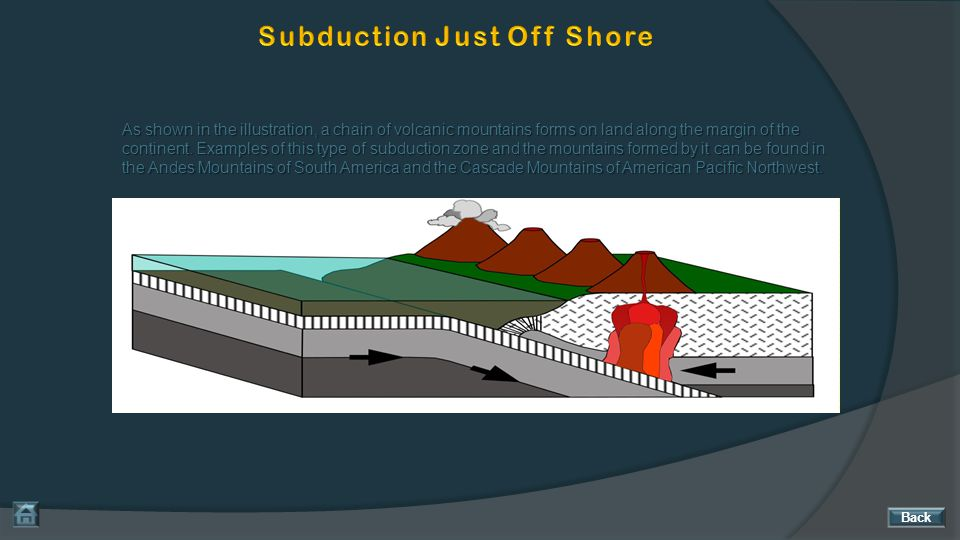 As shown in the illustration, a chain of volcanic mountains forms on land along the margin of the continent. Examples of this type of subduction zone