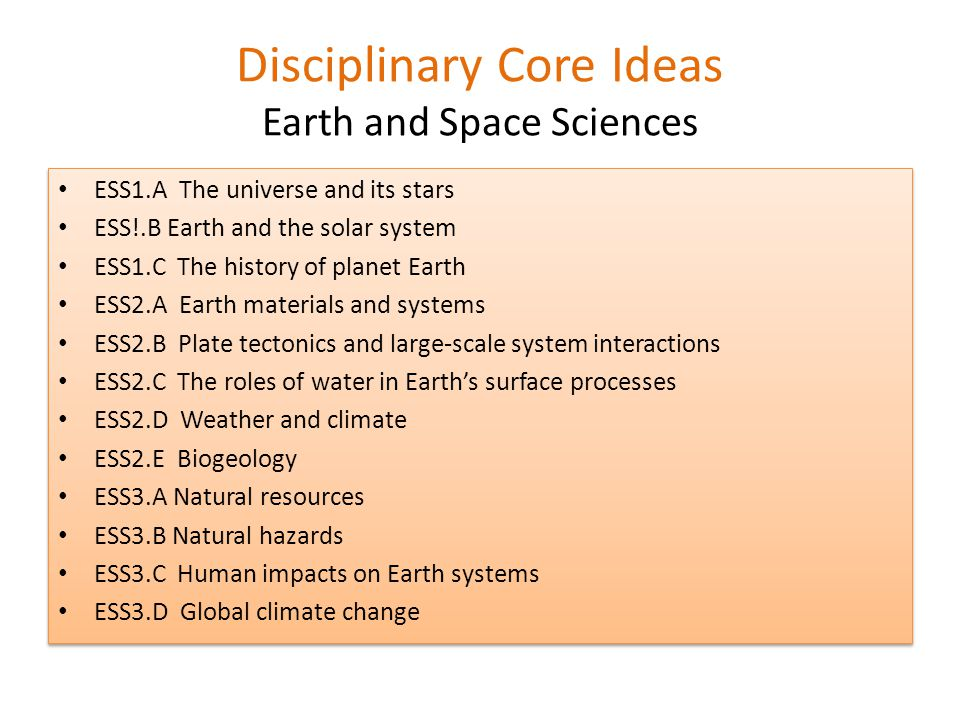 Disciplinary Core Ideas Earth and Space Sciences ESS1.A The universe and its stars ESS!.B Earth and the solar system ESS1.C The history of planet Earth ESS2.A Earth materials and systems ESS2.B Plate tectonics and large-scale system interactions ESS2.C The roles of water in Earth's surface processes ESS2.D Weather and climate ESS2.E Biogeology ESS3.A Natural resources ESS3.B Natural hazards ESS3.C Human impacts on Earth systems ESS3.D Global climate change ESS1.A The universe and its stars ESS!.B Earth and the solar system ESS1.C The history of planet Earth ESS2.A Earth materials and systems ESS2.B Plate tectonics and large-scale system interactions ESS2.C The roles of water in Earth's surface processes ESS2.D Weather and climate ESS2.E Biogeology ESS3.A Natural resources ESS3.B Natural hazards ESS3.C Human impacts on Earth systems ESS3.D Global climate change