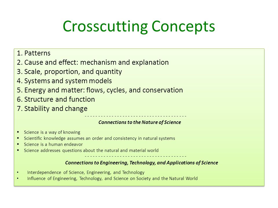 Crosscutting Concepts 1. Patterns 2. Cause and effect: mechanism and explanation 3.