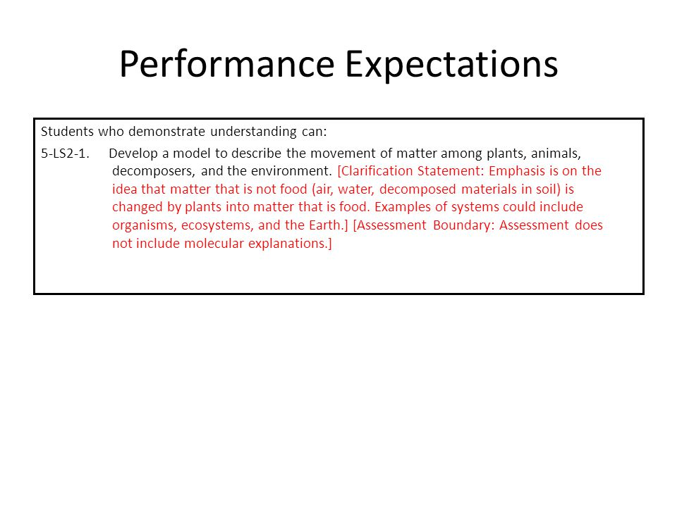 Performance Expectations Students who demonstrate understanding can: 5-LS2-1. Develop a model to describe the movement of matter among plants, animals