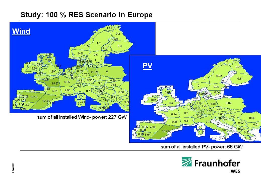 Seite 9 4. Juni 2009 Study: 100 % RES Scenario in Europe Wind PV