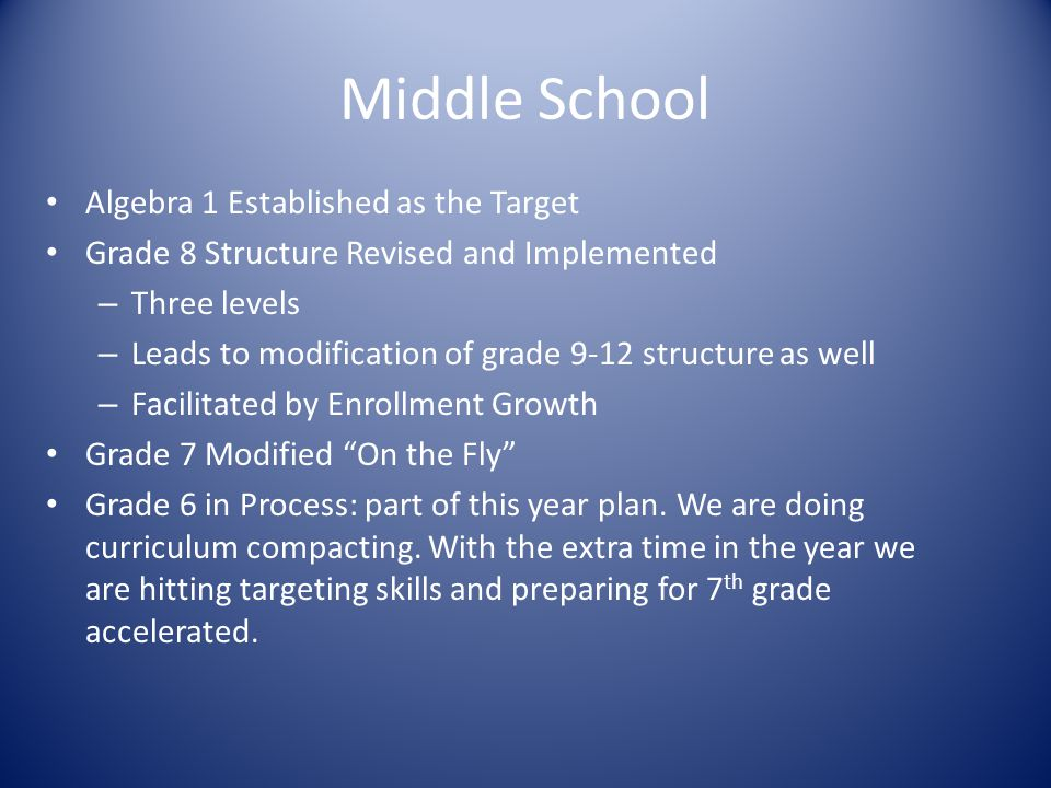 Middle School Algebra 1 Established as the Target Grade 8 Structure Revised and Implemented – Three levels – Leads to modification of grade 9-12 structure as well – Facilitated by Enrollment Growth Grade 7 Modified On the Fly Grade 6 in Process: part of this year plan.