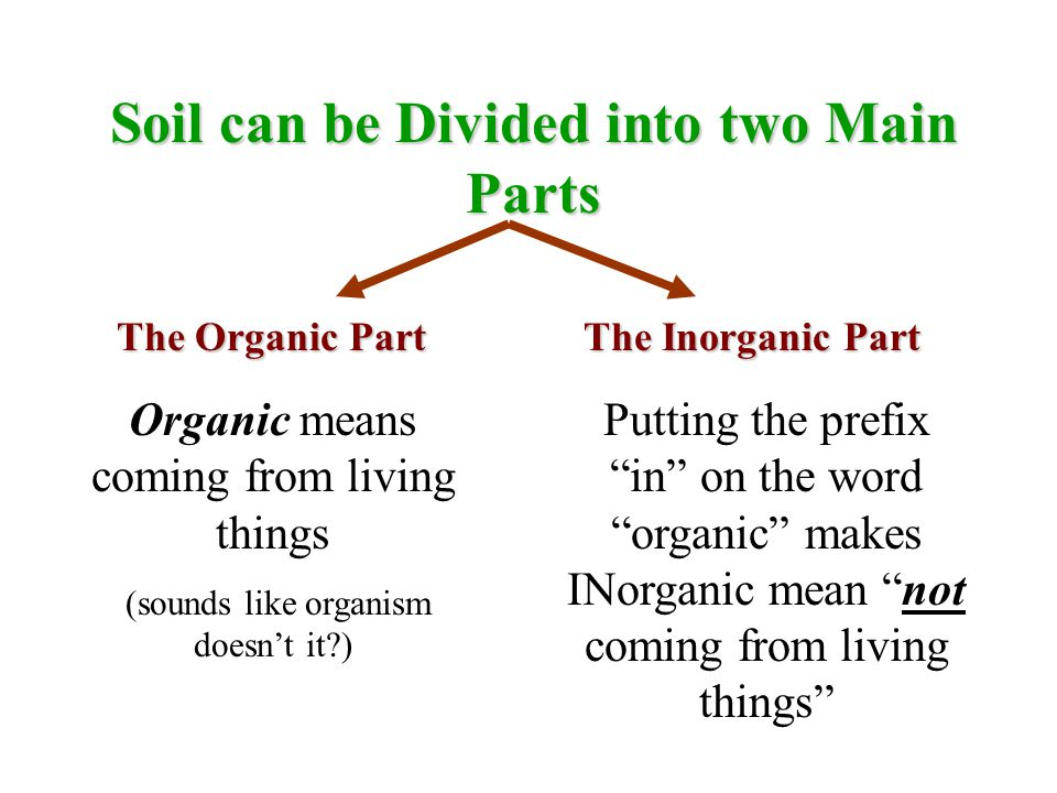 Soil can be Divided into two Main Parts The Organic Part The Inorganic Part Organic means coming from living things (sounds like organism doesn't it?) Putting the prefix in on the word organic makes INorganic mean not coming from living things