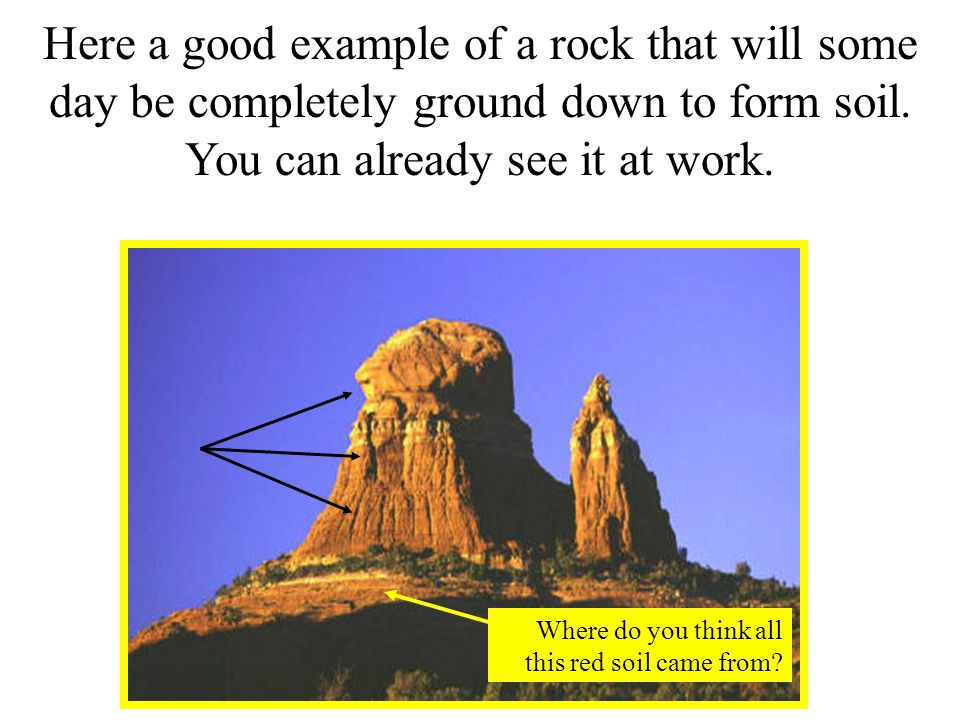 Here a good example of a rock that will some day be completely ground down to form soil.