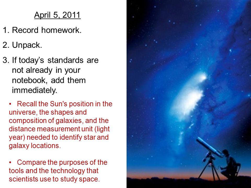 April 5, 2011 1.Record homework. 2.Unpack.