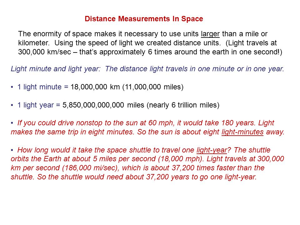 Distance Measurements In Space Light minute and light year: The distance light travels in one minute or in one year.