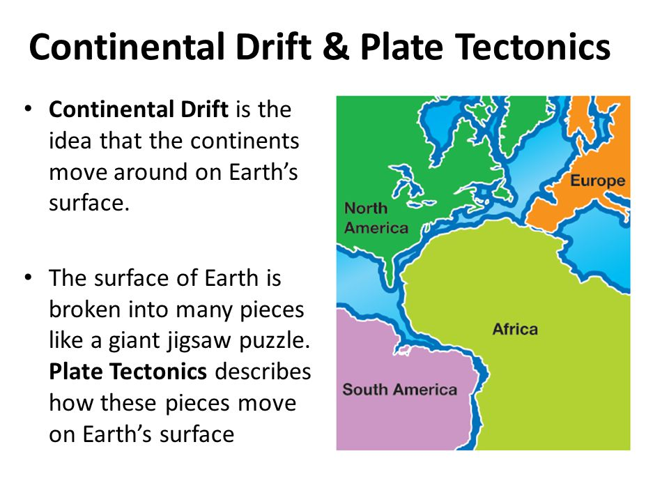 Theory of Continental Drift The theory that continents were once connected, but have drifted apart