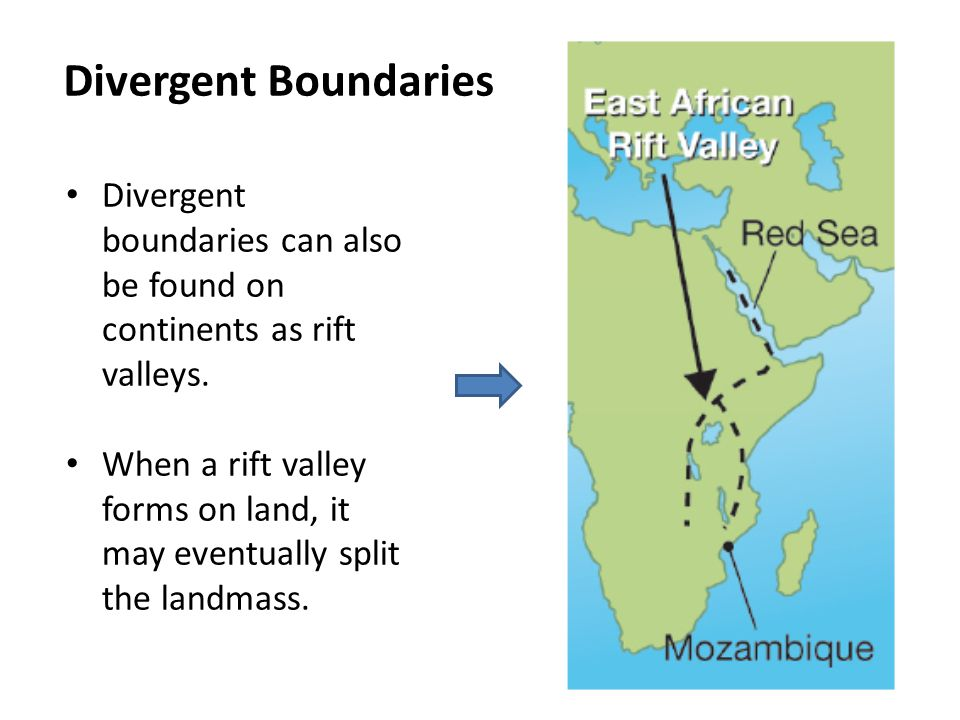 Divergent Boundaries Divergent boundaries can also be found on continents as rift valleys. When a rift valley forms on land, it may eventually split t