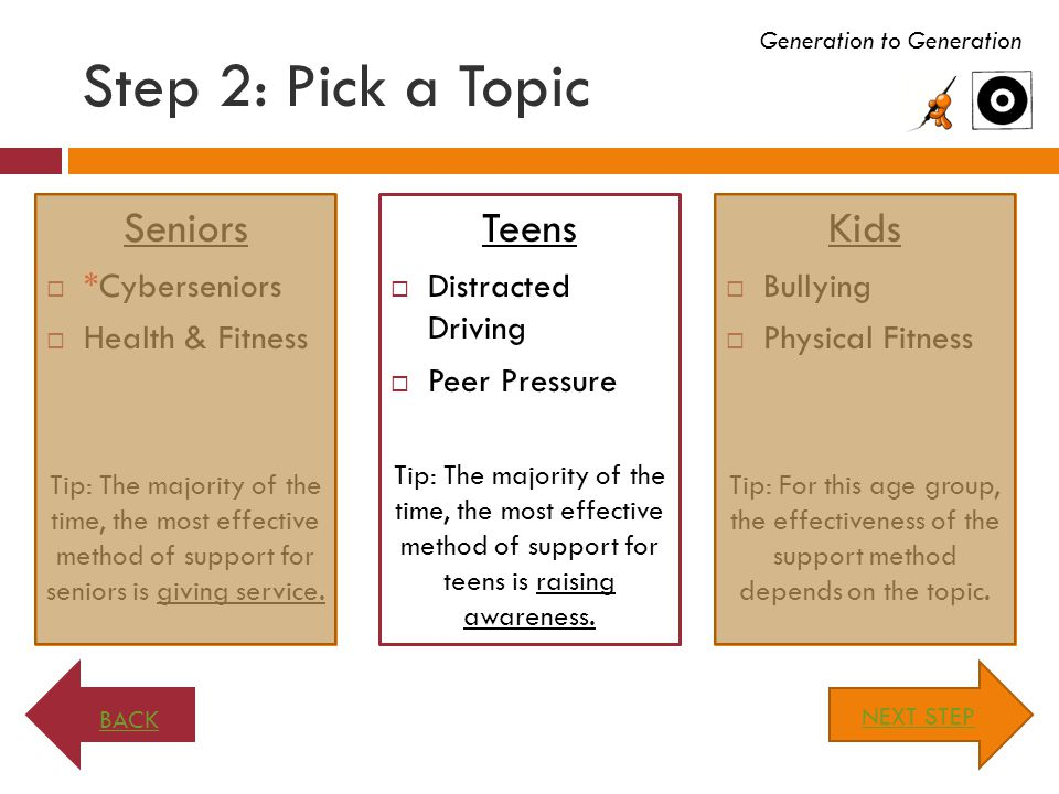 Step 2: Pick a Topic Seniors  *Cyberseniors  Health & Fitness Tip: The majority of the time, the most effective method of support for seniors is giving service.