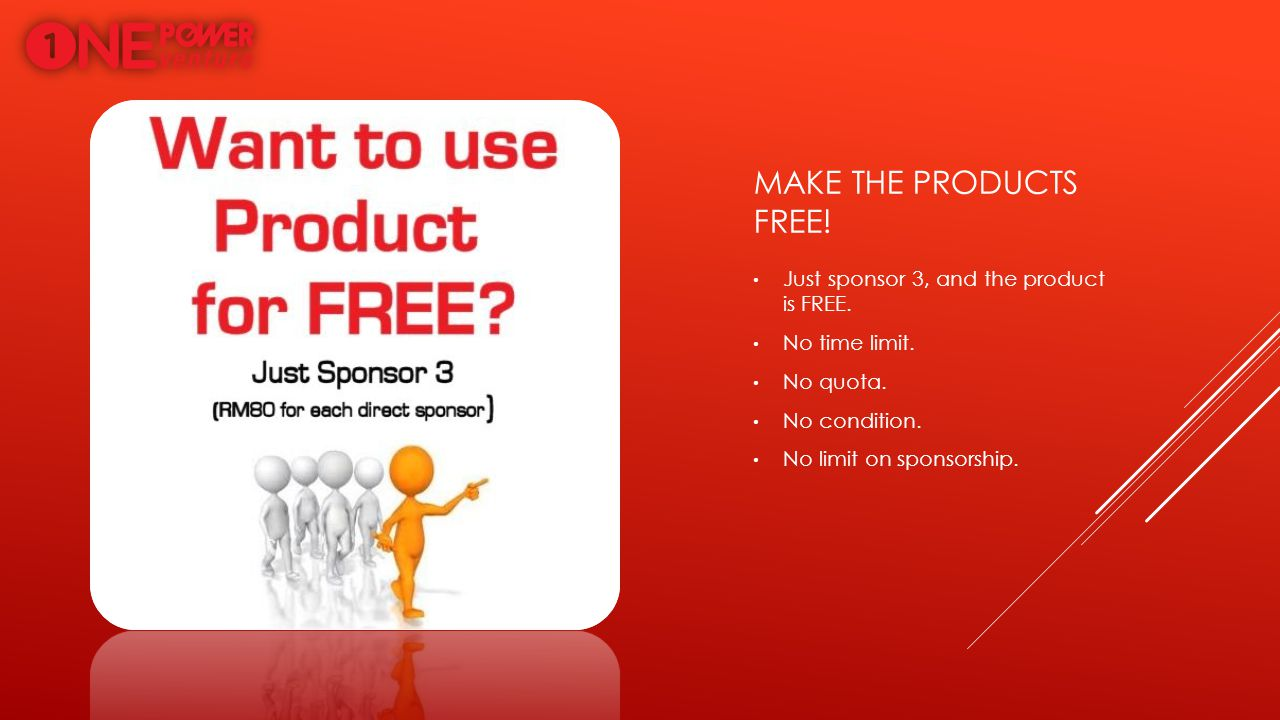 MAKE THE PRODUCTS FREE! Just sponsor 3, and the product is FREE. No time limit. No quota. No condition. No limit on sponsorship.