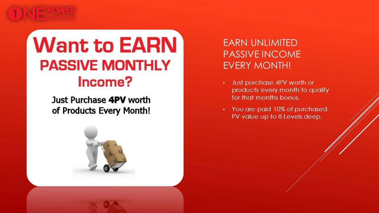EARN UNLIMITED PASSIVE INCOME EVERY MONTH! Just purchase 4PV worth or products every month to qualify for that months bonus. You are paid 10% of purch